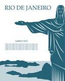 De kaart van het Rio de Janeiro met het standbeeld van Jesus-Christus vector illustratie