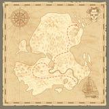 De kaart van het schateiland Retro behang uitstekende eilanden brengen zeevaartreisachtergrond met de piraatconcept van het kompa stock illustratie