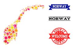 De Kaart van het stermozaïek van de Watermerken van Noorwegen en Grunge- stock illustratie