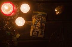 De Kaart van het tarot Toekomstige lezing divination Stock Fotografie