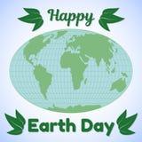 De kaart van de het themagroet van de aardedag of banner Wereldkaart, begroetende inschrijving en groene bladeren Het concept van vector illustratie