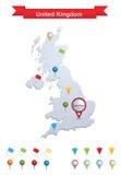 De Kaart van het Verenigd Koninkrijk Stock Afbeeldingen
