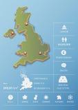 De kaart van het Verenigd Koninkrijk en het malplaatjeontwerp van reisinfographic Royalty-vrije Stock Fotografie