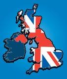 De Kaart van het Verenigd Koninkrijk met Union Jack Royalty-vrije Stock Foto
