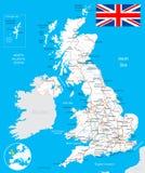 De kaart van het Verenigd Koninkrijk, vlag, wegen - illustratie Royalty-vrije Stock Foto's