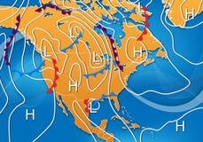 De Kaart van het weer van Noord-Amerika stock illustratie