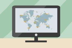 De kaart van het wereldvervoer met vliegtuigen op computer Royalty-vrije Stock Afbeelding