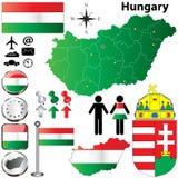 De kaart van Hongarije Stock Afbeeldingen