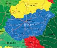 De kaart van Hongarije Stock Afbeelding