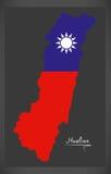 De kaart van Hualiantaiwan met Taiwanese nationale vlagillustratie Stock Foto's