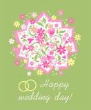 De kaart van de huwelijksgroet met mooi boeket met madeliefje, roze harten en trouwringen vector illustratie