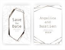 De kaart van de huwelijksuitnodiging, sparen de kaart van het datumhuwelijk, Modern kaartontwerp met gouden geometrisch en kwasts royalty-vrije illustratie