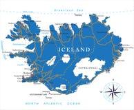 De kaart van IJsland Royalty-vrije Stock Afbeelding