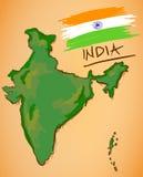 De Kaart van India en Nationale Vlagvector stock illustratie