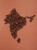 De kaart van India van koffiebonen die wordt gemaakt Stock Foto