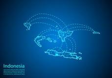 De kaart van Indonesië met knopen door lijnen worden verbonden die concept globale comm stock illustratie