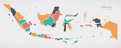 De Kaart van Indonesië met staten en moderne ronde vormen royalty-vrije stock afbeeldingen