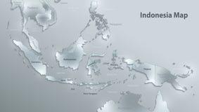 De kaart van Indonesië, de namen van de staat, afzonderlijke staten, individueel gebied, 3D het document van de glaskaart royalty-vrije illustratie