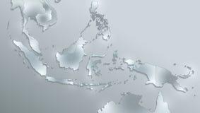 De kaart van Indonesië, de namen van de staat, afzonderlijke staten, individueel gebied, het document van de glaskaart 3D spatie royalty-vrije illustratie