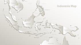 De kaart van Indonesië, de namen van de staat, afzonderlijke staten, individueel gebied, kaartdocument 3D natuurlijk vector illustratie