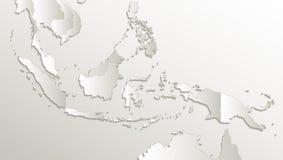 De kaart van Indonesië, de namen van de staat, afzonderlijke staten, individueel gebied, kaartdocument 3D natuurlijke vectorspati vector illustratie