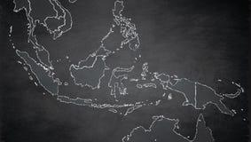 De kaart van Indonesië, de namen van de staat, afzonderlijke staten, individueel gebied, de spatie van het bordbord stock illustratie