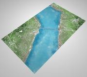 De kaart van Istanboel, satellietmening, stad, Turkije, sluit omhoog van de stad, Bosphorus-Brug, Stock Fotografie