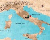 De kaart van Italië Stock Foto
