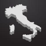 De kaart van Italië in grijs op een zwarte 3d achtergrond Royalty-vrije Stock Foto