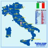 De kaart van Italië met Italiaanse gebieden en infographic werklozen stock illustratie