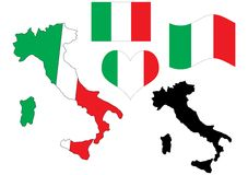 De kaart van Italië met vlag en hart Stock Afbeeldingen