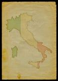 De kaart van Italië op oud document Stock Foto's