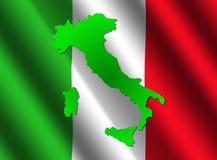 De kaart van Italië op vlag Stock Afbeelding