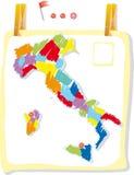 de kaart van Italië in verfstijl Royalty-vrije Stock Afbeelding