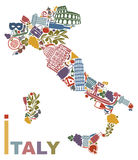 De kaart van Italië Stock Afbeeldingen