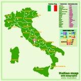 De kaart van Itali? met Italiaanse gebieden en infographic beroepsbevolking vector illustratie