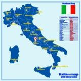De kaart van Itali? met Italiaanse gebieden en infographic stock illustratie