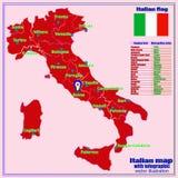 De kaart van Itali? met Italiaanse gebieden en infographic vector illustratie