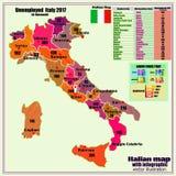 De kaart van Itali? met Italiaanse gebieden en infographic werklozen royalty-vrije illustratie