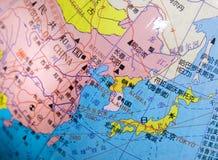 De kaart van Japan, China, Korea op een bol. Stock Fotografie