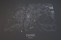 De kaart van Kaïro, Egypte, satellietmening Stock Afbeeldingen