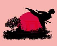 De kaart van karategrunge Stock Afbeeldingen