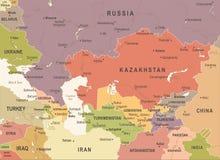 De Kaart van de Kaukasus en van Centraal-Azië - Uitstekende Vectorillustratie royalty-vrije illustratie