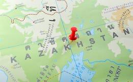 De kaart van Kazachstan stock foto's