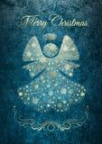 De kaart van de Kerstmisengel met Marry Kerstmiswensen Royalty-vrije Stock Afbeelding
