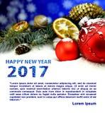 De kaart van Kerstmisgelukwensen met tekst Gelukkig Nieuwjaar 2017 Royalty-vrije Stock Afbeeldingen