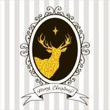 De kaart van de Kerstmisgroet met een beeld van een hert Stock Afbeeldingen