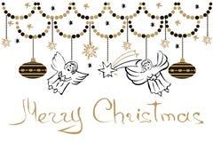 De Kaart van de Kerstmisgroet met Engelen, Sterren, Sneeuwvlokken en Chris stock illustratie