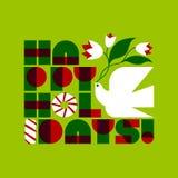 De kaart van de Kerstmisgroet met het gelukkige vakantie van letters voorzien en duif Stock Foto