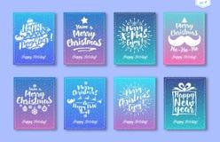 De kaart van de Kerstmisgroet met het witte Gelukkige Nieuwjaar van het embleem bestaande teken, Vrolijke Kerstmis wordt geplaats royalty-vrije illustratie